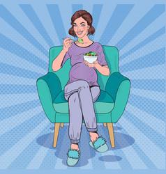 Pop art happy pregnant woman eating salad at home vector