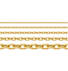 Realistic gold plated seamless metal chain vector