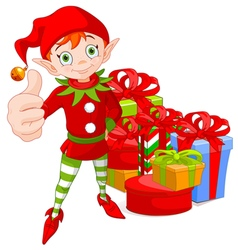 Red Haired Christmas Elf Holding Up a Thumb vector image