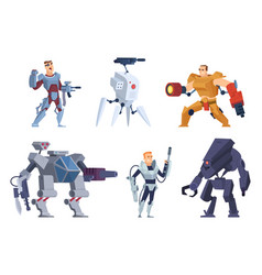 robots warriors characters in exoskeleton brutal vector image