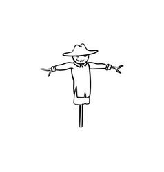 Scarecrow hand drawn sketch icon vector