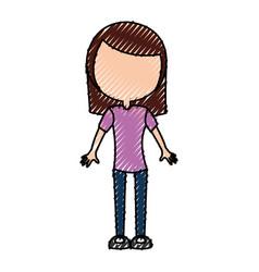 scribble women body cartoon vector image