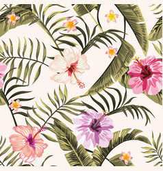 seamless tropical wallpaper flowers hawaiian vector image