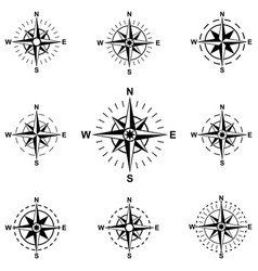 set compass wind rose isolated on white background vector image