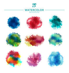 Set of multicolored watercolor paint stains and vector