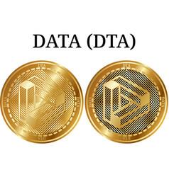 Set of physical golden coin data dta vector