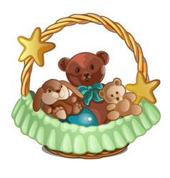 set of plush bears and a rabbit in wicker basket vector image