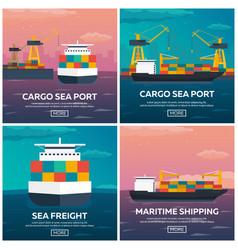 set of sea transportation logistic sea freight vector image