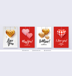 set of valentines day backgrounds with hearts vector image