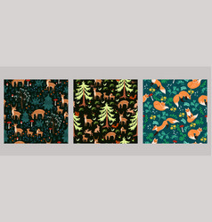 set seamless patterns with animals vector image