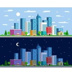 Set wide panoramas urban landscape vector