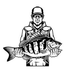 Smiling fisherman holding bass fish vector