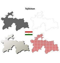 Tajikistan outline map set vector