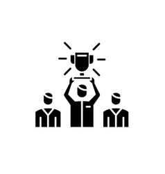 team leader black icon sign on isolated vector image
