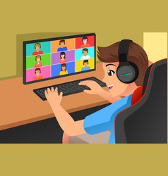 Teenagers meeting online with his friends vector