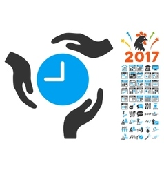 Time Care Icon With 2017 Year Bonus Pictograms vector
