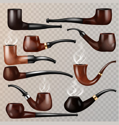 tobacco pipe vintage nicotine smoker object vector image