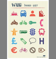 Transport and road signs urban web icons set vector image