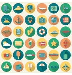 Travel Icons Set Flat design style vector