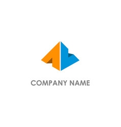 triangle pyramid colored logo vector image