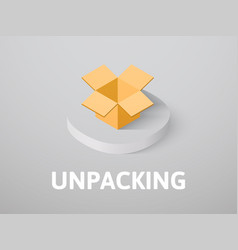 Unpacking isometric icon isolated on color vector