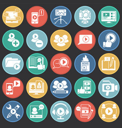 Video blog icons set on color circles black vector