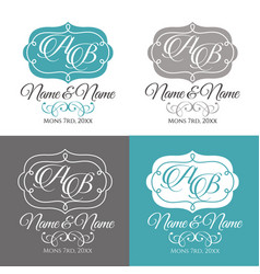Wedding logo4 calligraphic ornament vector