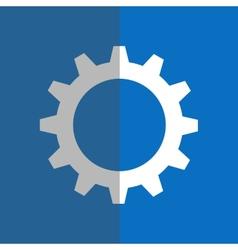 White gearwheel on blue background vector image