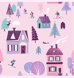 winter seamless pattern skiing holiday vector image