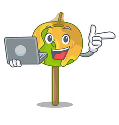 With laptop candy apple character cartoon vector