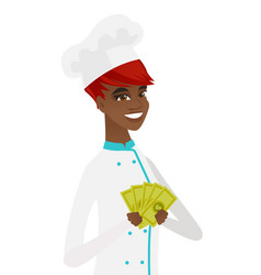 Young african-american chef holding money vector