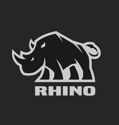 Angry rhino monochrome logo on a dark background vector