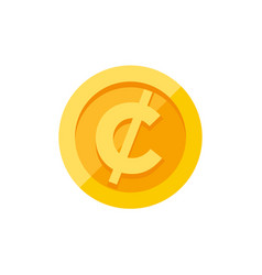 cent or centavo currency symbol on gold coin flat vector image vector image