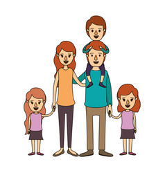 color image caricature big family parents with boy vector image vector image
