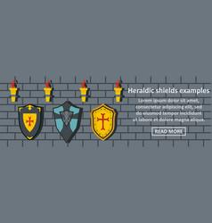 heraldic shields examples banner horizontal vector image