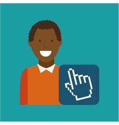 man afroamerican using laptop cursor media icon vector image