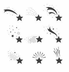 shooting falling stars icons icons of meteorites vector image vector image