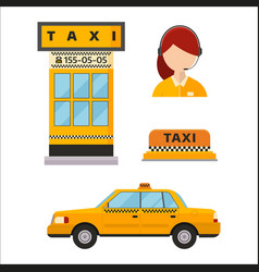 taxi cab isolated white vector image vector image