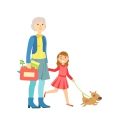 Grandfather And Granddaughter Walking The Dog vector image