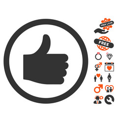 thumb up icon with dating bonus vector image vector image