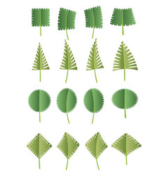 green abstract leaf icons natural set on white vector image vector image