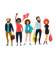 group of young hipsters male and female vector image vector image