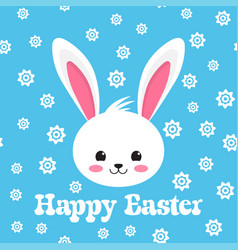 Happy easter rabbit white cute bunny vector