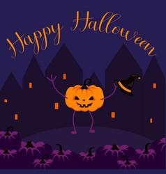 happy halloween postcard banner vector image vector image