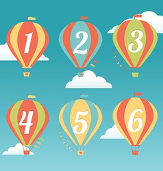 Six Colorful Hot Air Balloons vector image vector image