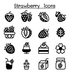 strawberry icon set vector image vector image