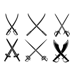 Swords sabres and longswords set vector image vector image