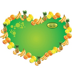 tropical fruit label heart vector image