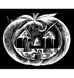 White Halloween scary pumpkin vector image vector image