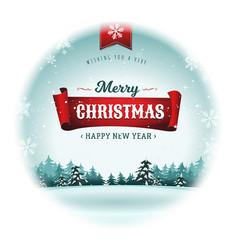 merry christmas holidays snowball vector image